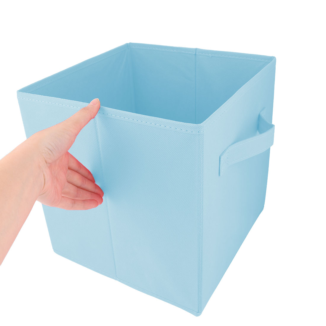Apartment Non-woven Fabric Foldable Books Cosmetics Holder Storage Box Sky Blue - image 3 of 5