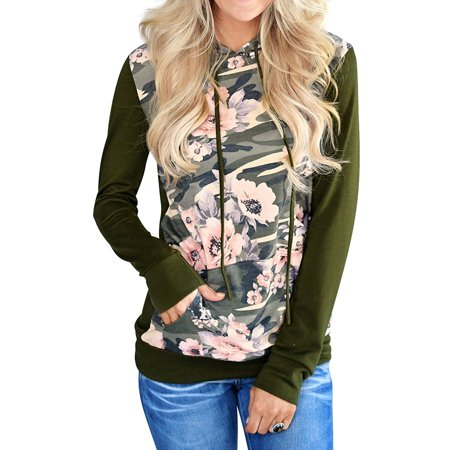 ZXZY Women Long Sleeve Floral Print Camouflage Hoodie Sweatshirt Top