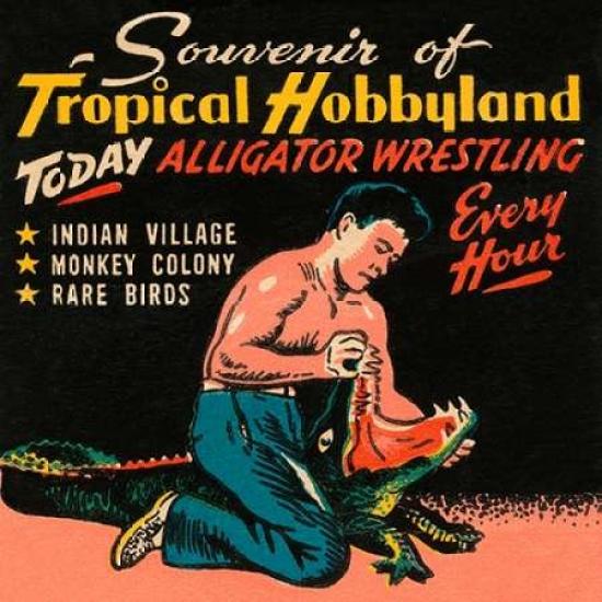 Tropical Hobbyland - Alligator Wrestling Poster Print by Retrotravel