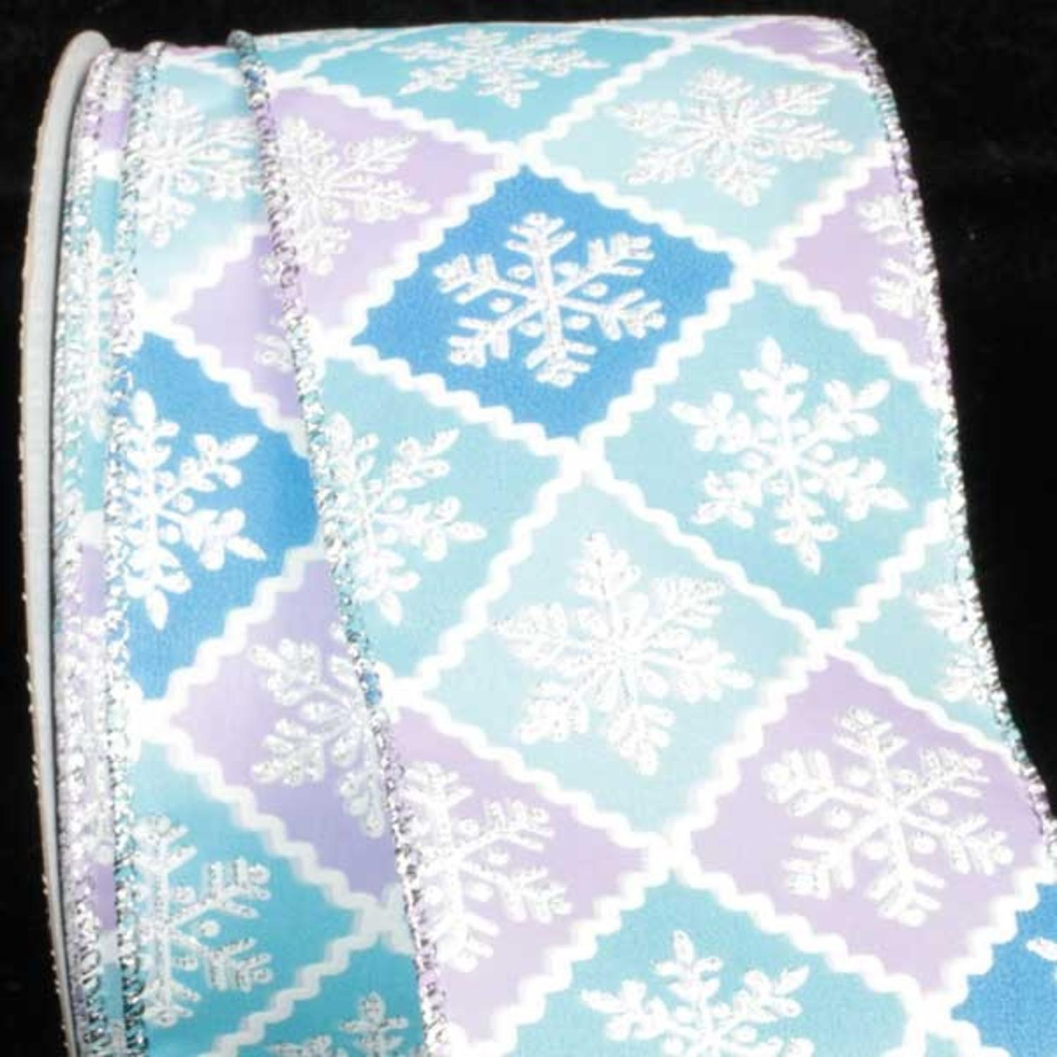 """Snowflake Lattice Blue and Lavender Wired Craft Ribbon 2.5"""" x 40 Yards"""