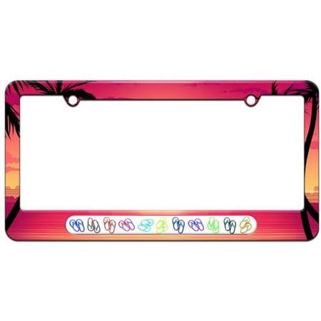 Flip Flops Multi Color, Family License Plate Tag Frame, Multiple Colors (License Plate Flip)