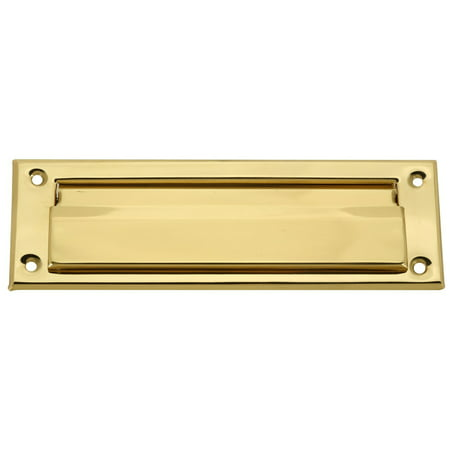 Brass Mail Slot - Brass Plated Mail Letter Slot Fits All Wood & Metal Doors 3