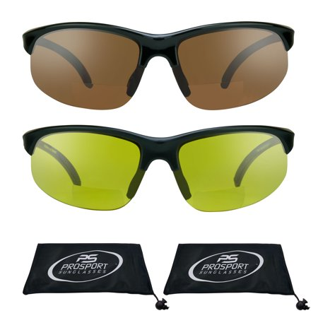 proSPORT 2 Pairs of Bifocal Reading Sunglasses with Sport Wrap Frames for Men and Women. ()
