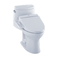 TOTO® Connect+® Kit UltraMax® II One-Piece Elongated 1.28 GPF Toilet and Washlet® C100 Bidet Seat, Cotton White - MW6042034CEFG#01