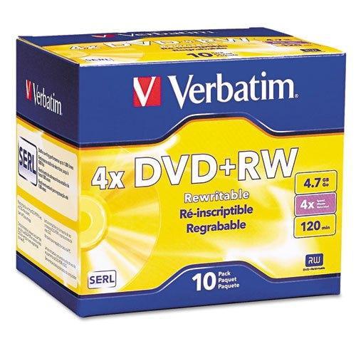 Verbatim DVD+RW Discs, 4.7GB, 4x, with Slim Jewel Cases, Pearl, 10/Pack 94839