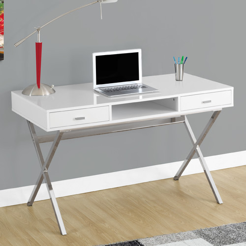 "Monarch Computer Desk 48""L / Glossy White / Chrome Metal"