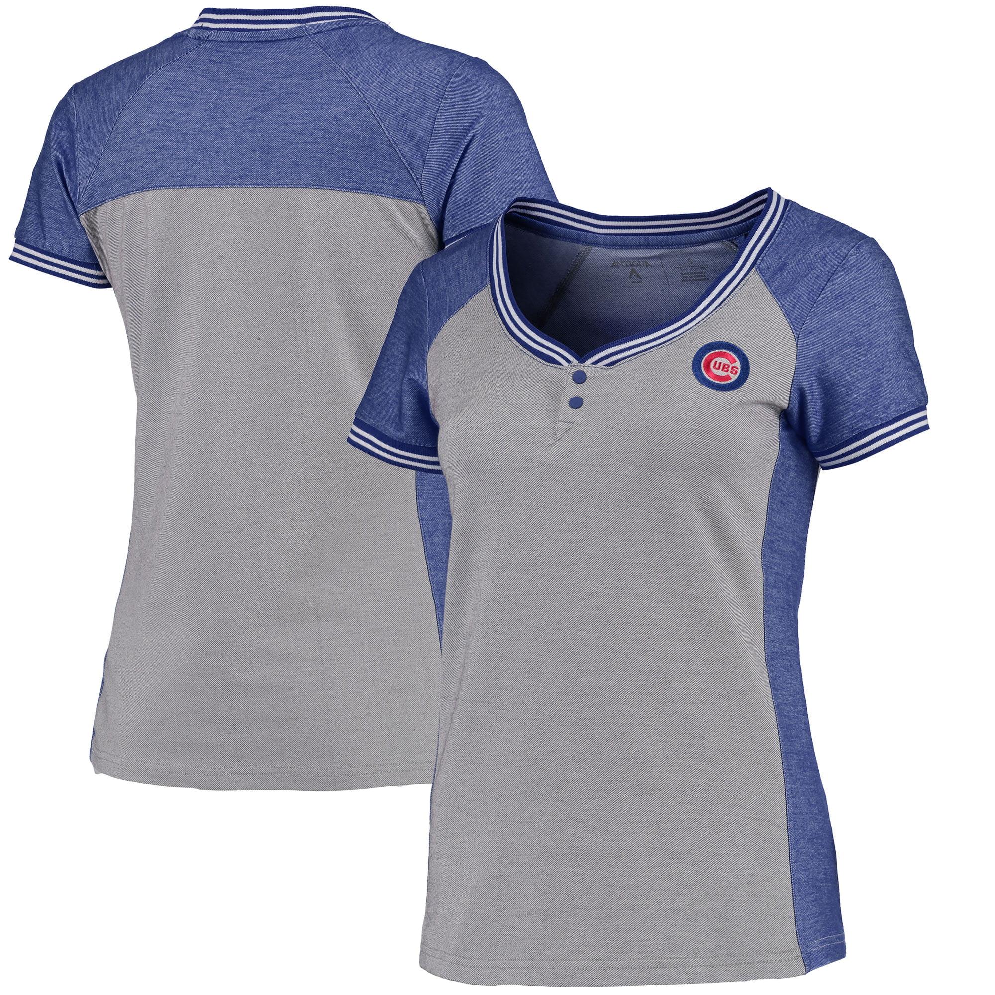 Chicago Cubs Antigua Women's Quick Henley T-Shirt - Gray/Royal