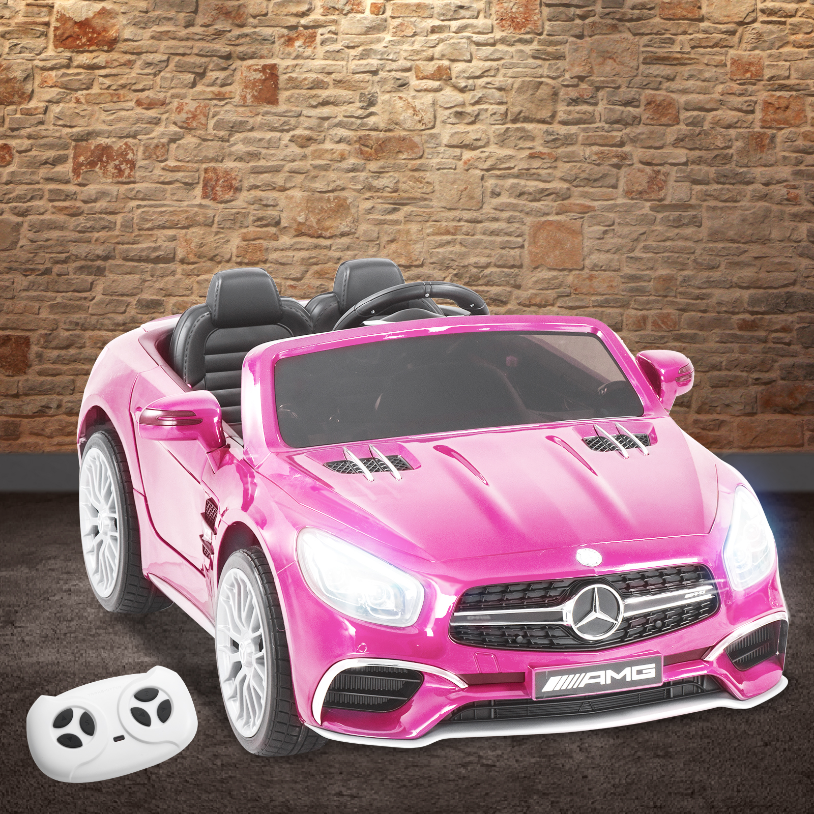 Uenjoy Kids Ride-On Car Remote Control Licensed Mercedes-Benz 3 Speeds LED Lights & Spring Suspension & Safety Lock 12V Pink