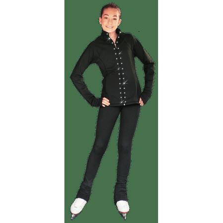 b5f263f95aeaf Chloe Noel JS792 Color Contrast Elite Figure Skating Jacket w/ Pockets  Thumb Holes Swarovski Crystal Design - Walmart.com