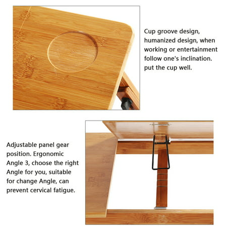 Adjustable Portable Folding Table Bed Desk Stand With Drawer For Computer Laptop Notebook PC(Wood) - image 6 of 10