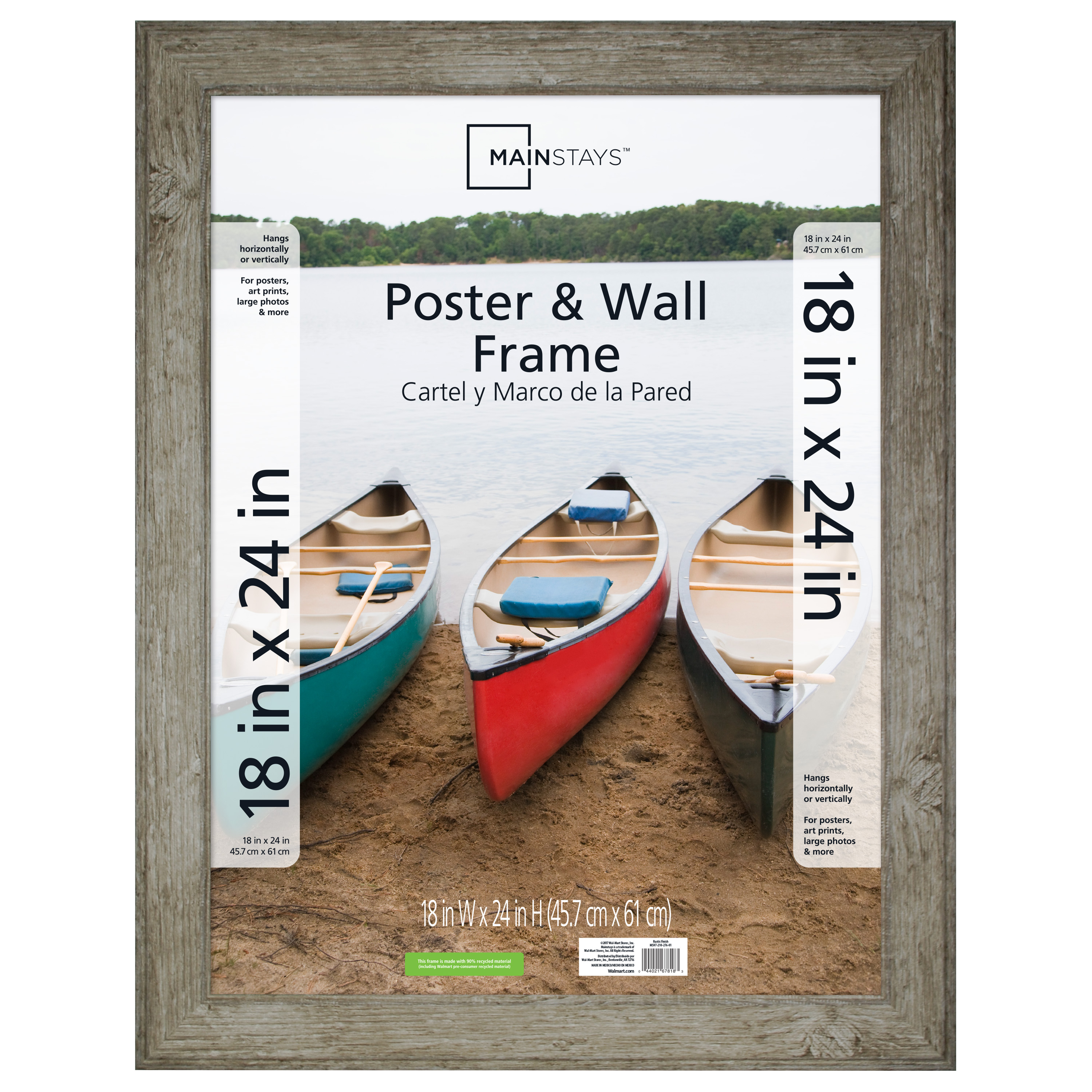 Mainstays 18x24 Rustic Woodgrain Poster And Picture Frame Walmartcom
