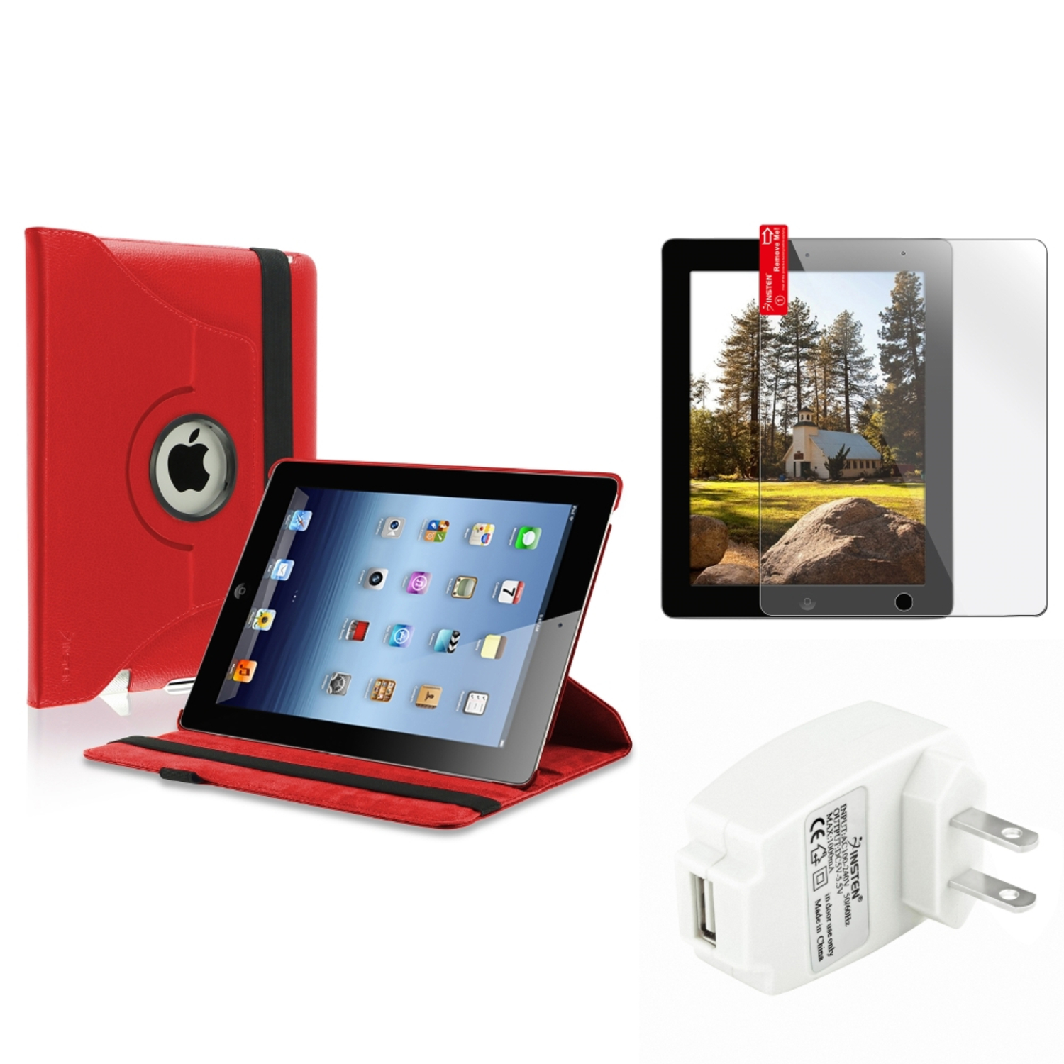 Insten Red 360 Leather Case Screen Film Wall Charger for iPad Retina 2 2nd 3 3rd 4 4th (Supports Auto Sleep/Wake)