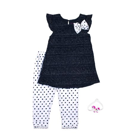 Lace Tunic and Polka Dot Legging, 2-Piece Outfit Set (Little Girls)