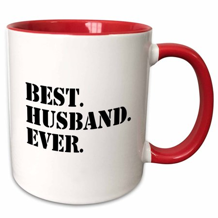 3dRose Best Husband Ever - fun romantic married wedded love gifts for him for anniversary or Valentines day - Two Tone Red Mug,