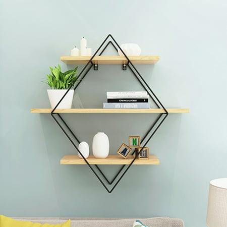 Wood Wall Shelves Shelf Retro Style Rhombus Metal Rack Storage For Home Center Organiser Bedroom Decoration