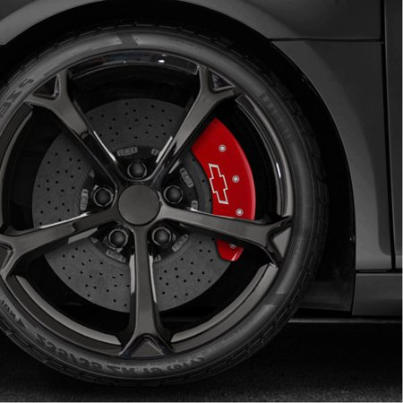 Set of 4 Red 'Bowtie' Caliper Covers for 2018 Chevy Equinox by MGP (Mgp V2)