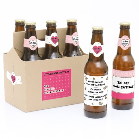 Be My Galentine - 6 Valentine's Day Beer Bottle Labels with 1 Beer Carrier