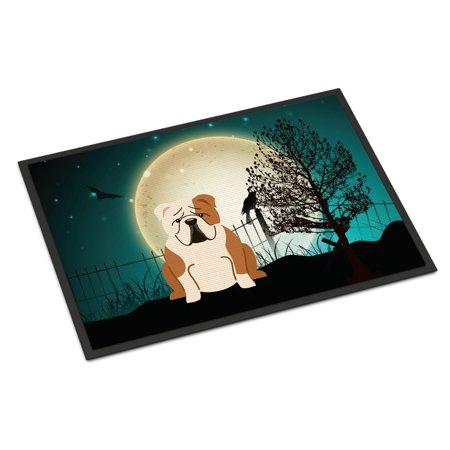 Halloween Scary English Bulldog Fawn White Door Mat