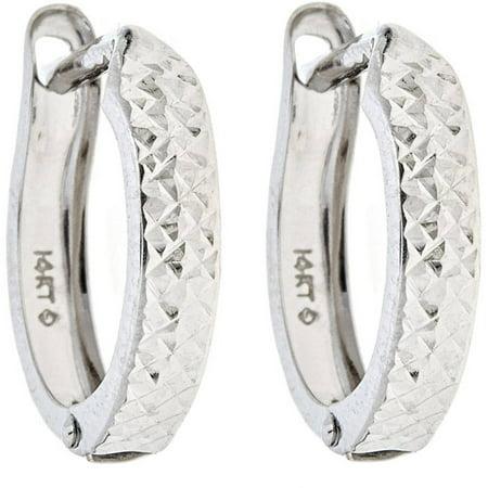 - 10kt Solid White Gold Petite Hinged Hoop Earrings In a Diamond-Cut Design