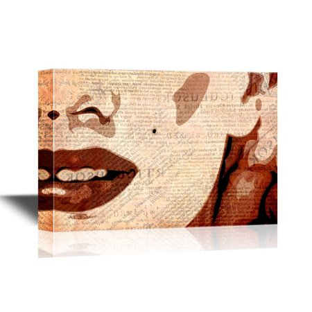 wall26 Canvas Wall Art - Marilyn Monroe Painting with Vintage Newpaper Background - Gallery Wrap Modern Home Decor | Ready to Hang - 24x36 inches