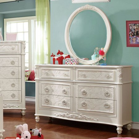 Carved Chest (Voguish And Chic Wooden Dresser In Fairy Tale Style With Floral Carved Motif, White )