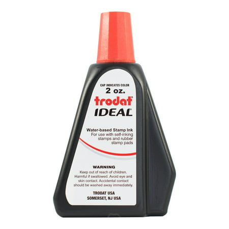 Trodat 53024  Ideal Premium Replacement Ink for Use with Most Self Inking and Rubber Stamp Pads, 2 oz., Red 2 Self Inking