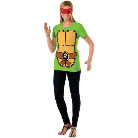 Women's Teenage Mutant Ninja Turltles Raphael T-Shirt Mask Costume Set