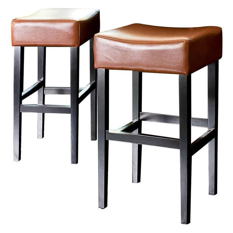 Classic Backless Leather Bar Stool - Hazelnut - Set of 2