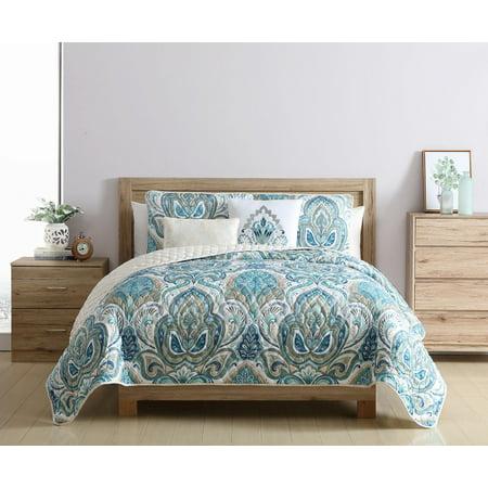 VCNY Home Eloise Reversible Damask Quilt Set, King, Blue