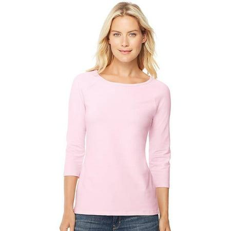 00 Stretch Cotton Womens Raglan Sleeve Tee, Paleo Pink - Large - image 1 de 1