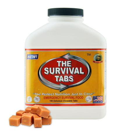 Survival Tabs 15 Day 180 Tabs Emergency Food Survival MREs Meal Replacement for Disaster Preparedness Gluten Free and Non-GMO 25 Years Shelf Life Long Term - Butterscotch (Best Foods For Disaster Preparedness)