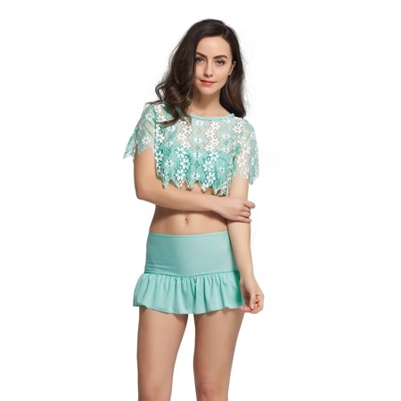 Hawaii Hangover Mix and Match Swimwear Bikini Sets Ruffle Skirts Mesh Top 3 Piece Aqua S