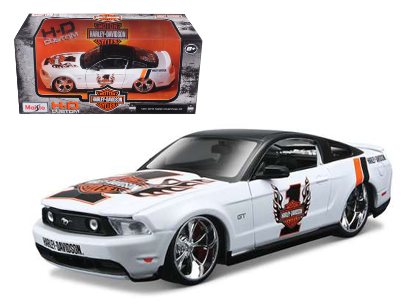 2010 Ford Mustang GT White #1 Harley Davidson 1 24 Diecast Model Car by Maisto by Maisto