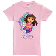 Personalized Dora and Friends Let's Go Toddler Girls' Fitted Tee, Pink