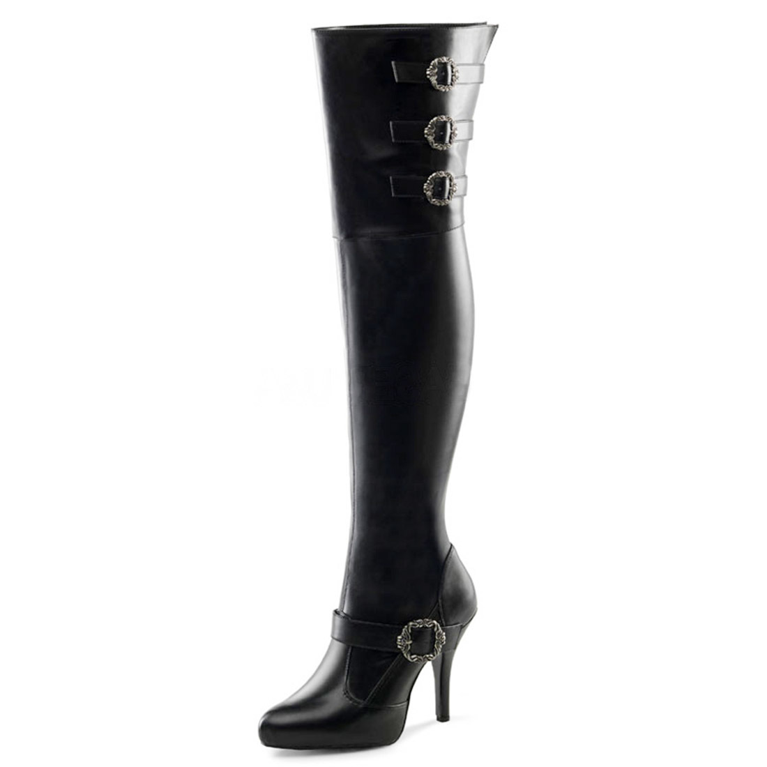 black wide width wide shaft thigh high pirate boots with 5