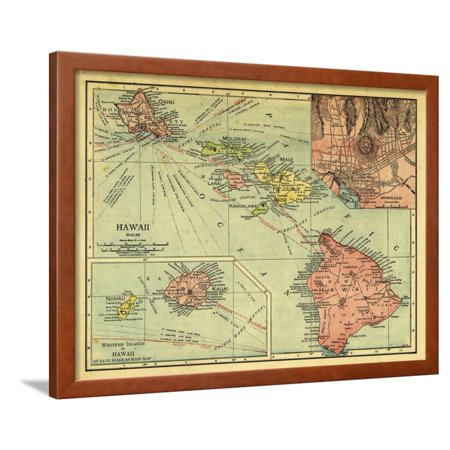 1912, Hawaii State Map, Hawaii, United States Framed Print Wall (Map Framed Print)