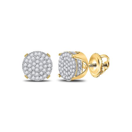 10kt Yellow Gold Mens Round Diamond Circle Cluster Stud Earrings 1/4 Cttw