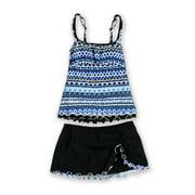 Profile Womens Geo Ruffle Slit Skirt 2 Piece Tankini