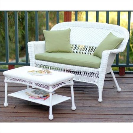 Jeco Wicker Patio Love Seat and Coffee Table Set in White with Green Cushion
