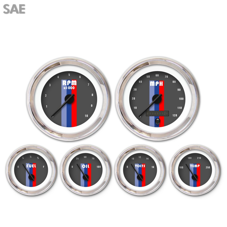 6 Gauge Set-SAE Vintage Autobahn Dark Gray Black Modern Needles Chrome Trim Rings Style Kit DIY Install