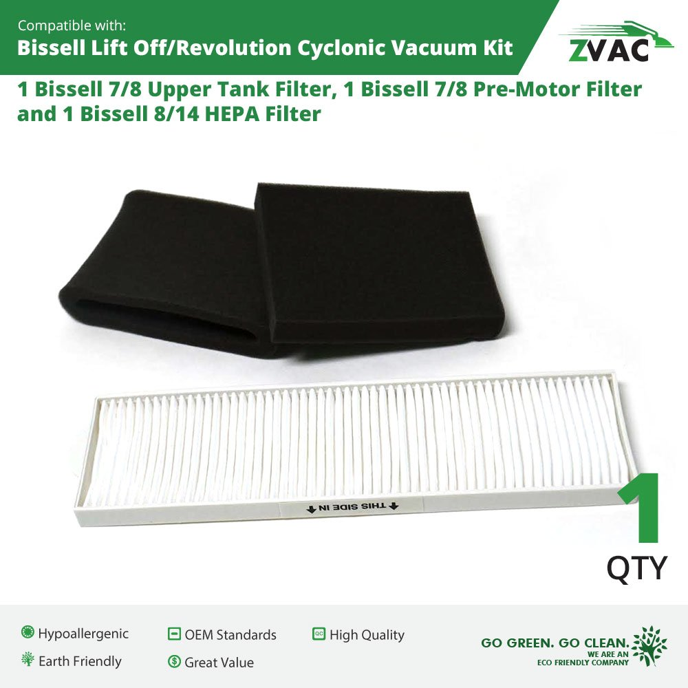 Bissell Lift-Off Revolution Cyclonic Vacuum HEPA & Foam Filter Kit - by ZVac