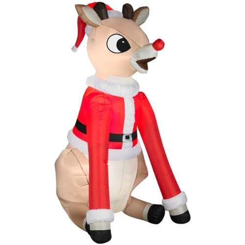 5.5' Airblown Rudolph in Santa Suit Light Up