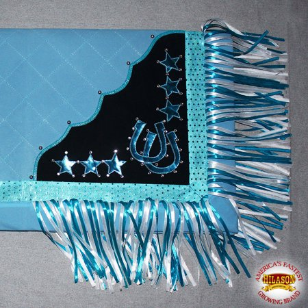 B106-F HILASON WESTERN SHOW BARREL RACING RODEO SADDLE BLANKET PAD TURQUOISE (Saddle Blanket Pad)