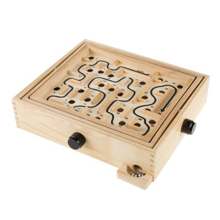Labyrinth Wooden Maze Game with Two Steel Marbles, Puzzle Game for Adults, Boys and Girls by Hey! Play!