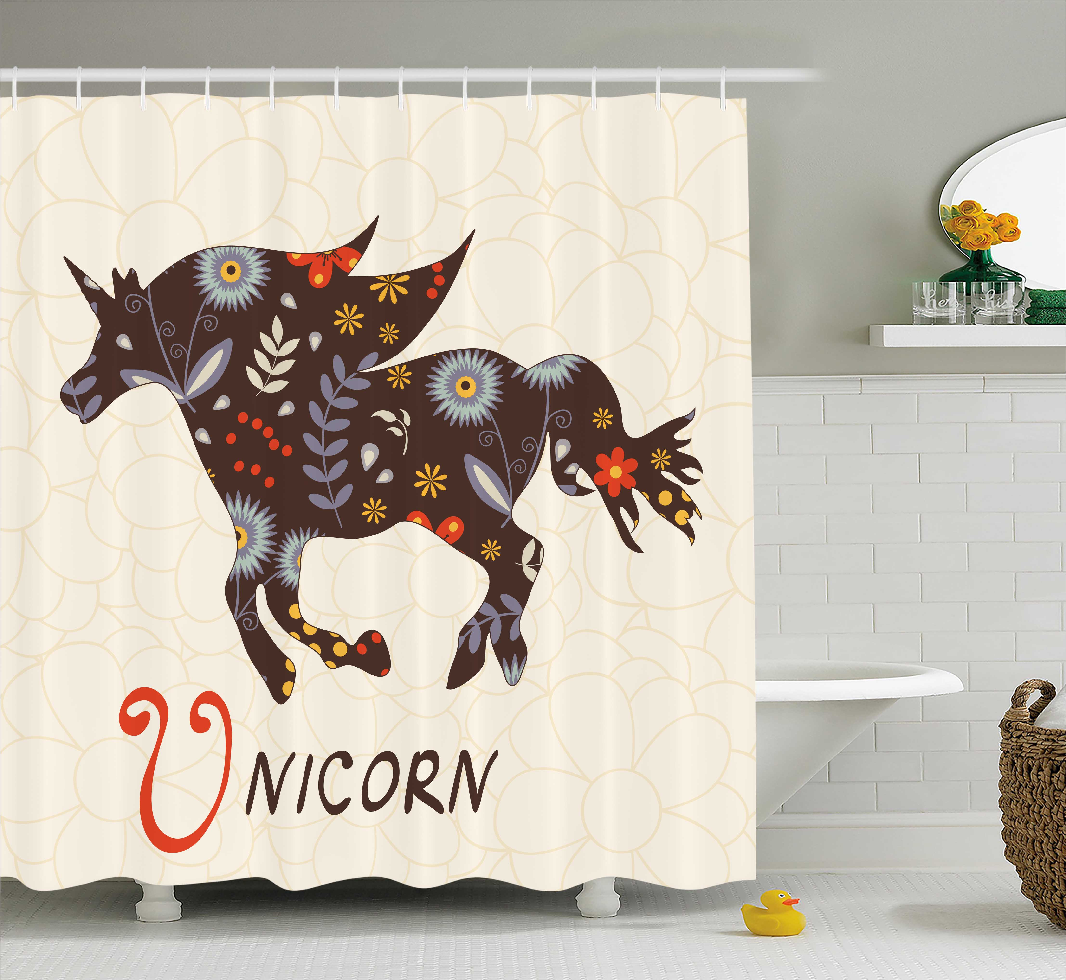 Unicorn Home and Kids Decor Shower Curtain, Silhouette Ma...