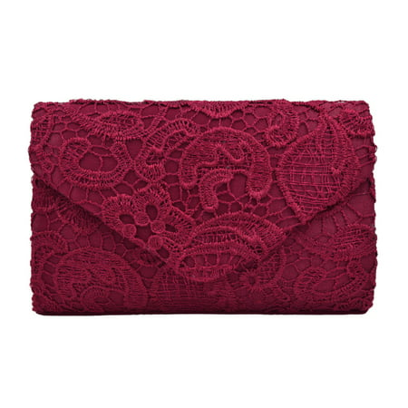 Lace Paisley Floral Fabric Satin Envelope Flap Clutch Evening Bag