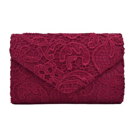 - Lace Paisley Floral Fabric Satin Envelope Flap Clutch Evening Bag