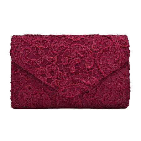 Lace Paisley Floral Fabric Satin Envelope Flap Clutch Evening Bag