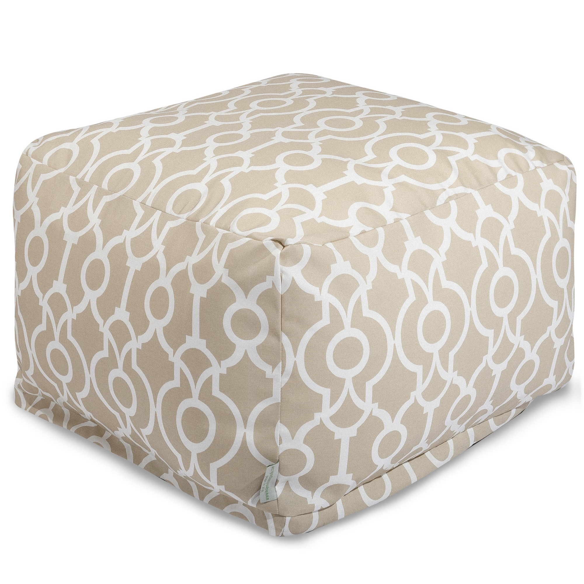 Majestic Home Goods Indoor Outdoor Treated Polyester Navy Athens Ottoman Pouf