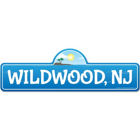 Wildwood, NJ New Jersey Beach Street Sign | Indoor/Outdoor | Surfer, Ocean Lover, Décor For Beach House, Garages, Living Rooms, Bedroom | Signmission Personalized Gift (Wildwood Nj)